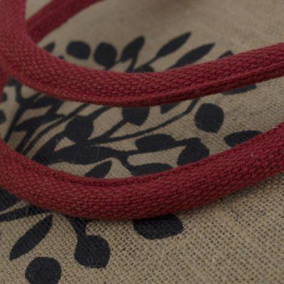 Custom dyed handle on cotton jute printed bag